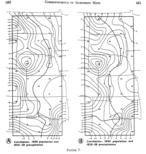 """Fig. 7 [map] In: Robinson, A.H. """"Mapping the Correspondence of Isarithic Maps."""" Annals of the Association of American Geographers 54 (1962): 414-425."""