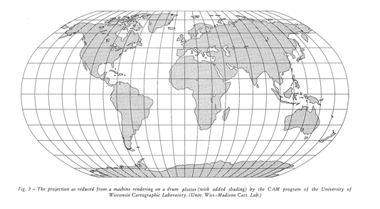 """Fig 3. [map]. In: Robinson, A.H. """"A New Map Projection: Its Development and Characteristics."""" International Yearbook of Cartography 14 (1974): 145-155."""